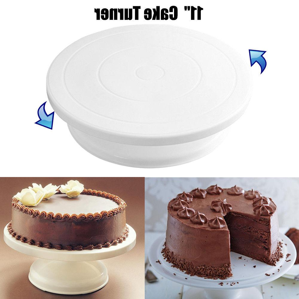 "11"" Rotating Revolving Cake Turn table Plate Display Stand D"