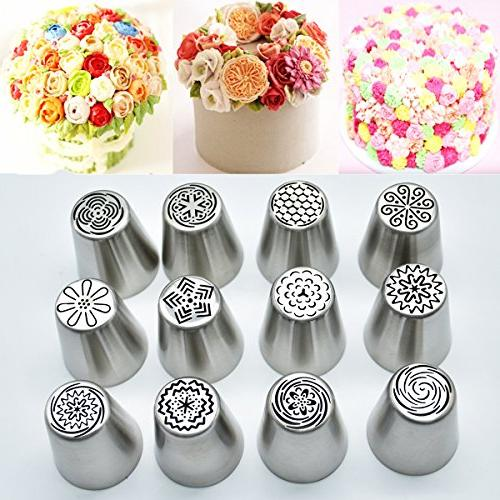 Russian Piping Cake 13 Baking Supplies - 12 Nozzles - Conventor - Decoration Best Kitchen Gift