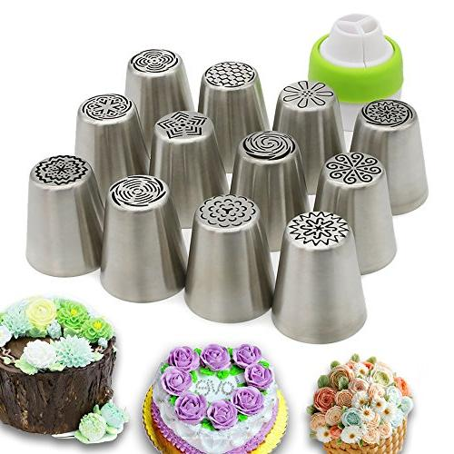 Russian Piping Tips Cake Decorating Supplies 13 - 12 - Premium Decoration Conventor - Extra Decoration Kit Kitchen