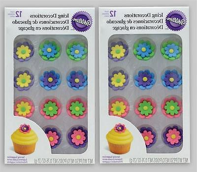 1X Set Wilton Double Flower Icing Decorations For Cakes Cupc