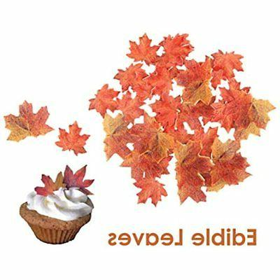 set of 36 edible fall leaves gold