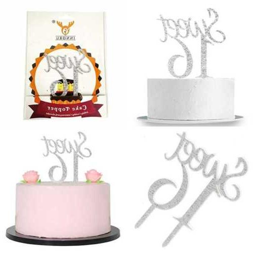 silver sweet 16 cake topper happy birthday