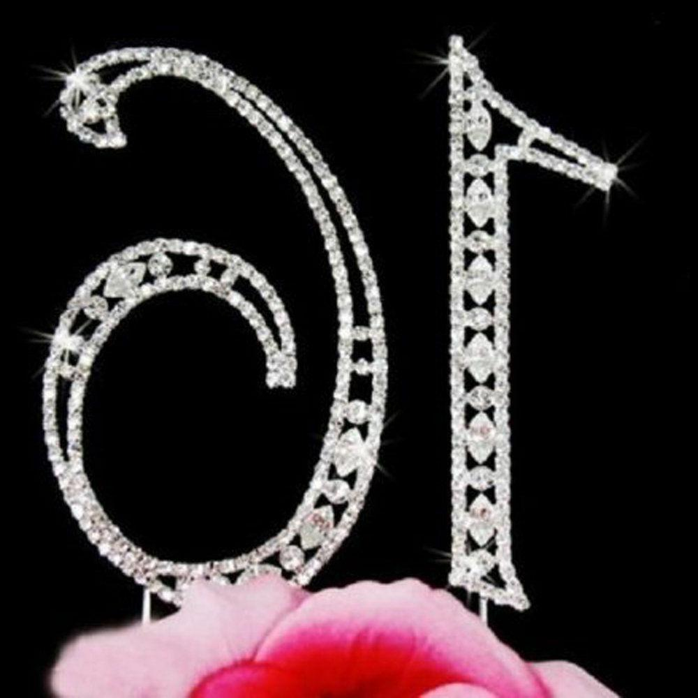 Sixteen Birthday Number Silver Sweet Cake Topper