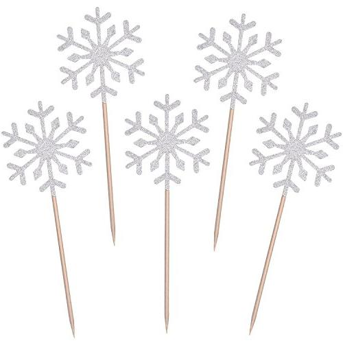 snowflake cupcake toppers glitter