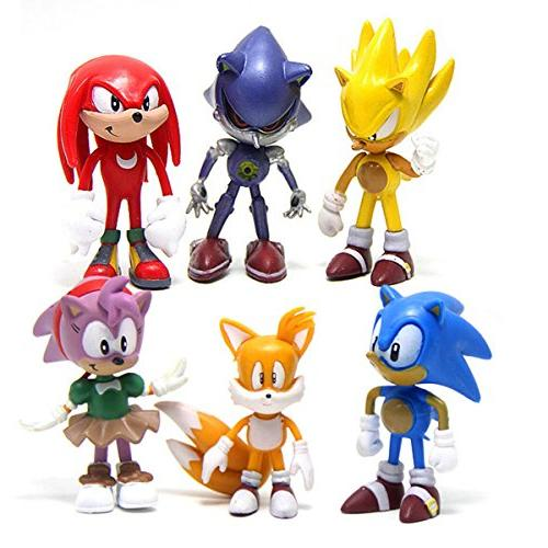 6 Pcs Sonic The Hedgehog Action Figures Cake