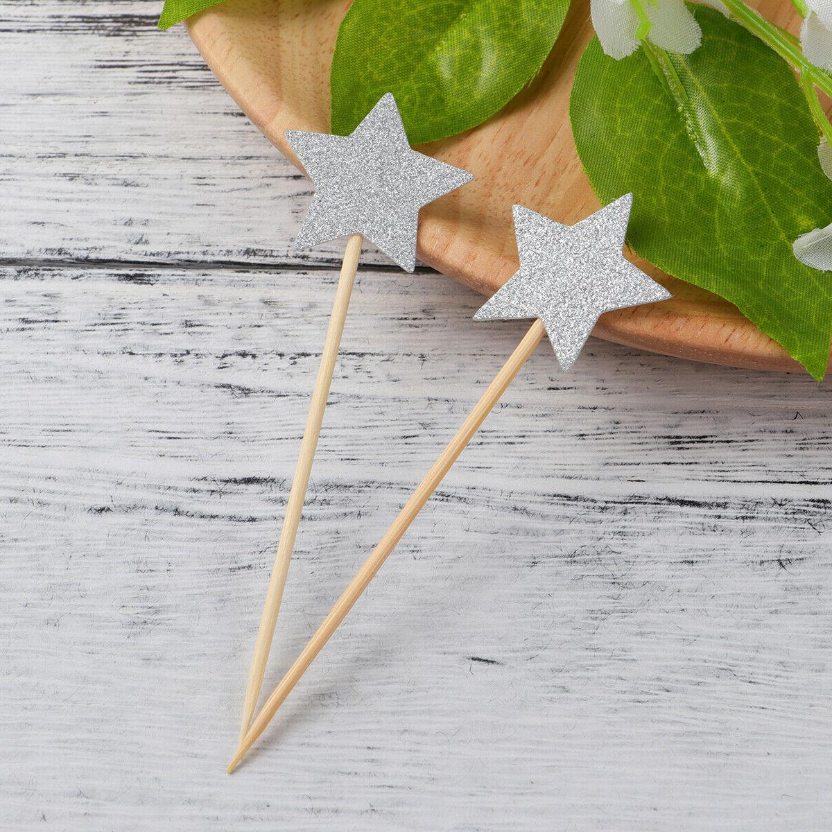 Star Cupcake Toppers Dessert Table Glitter Decorations