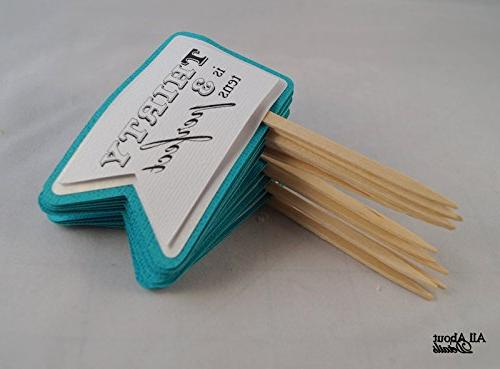 teal birthday quotes cupcake toppers