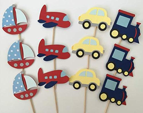 transportation cupcake toppers set