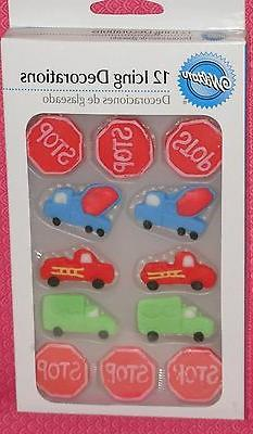 Transportation Edible Sugar Cupcake Toppers,Wilton,Decoratio