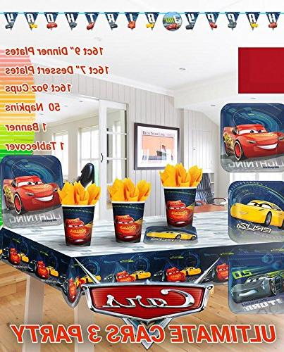 Ultimate Cars 3 PartyBirthday Party Decoration Supplies Bundle