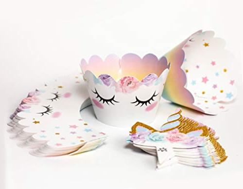 Unicorn Sided and Wrappers, Decorations, Birthday Party 24 sets -- By Xeren Designs