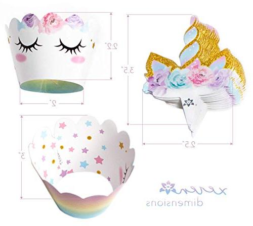 Unicorn Cupcake Decorations, Sided and Wrappers, Rainbow Decorations, Cute Girl's Party 24 -- By Xeren