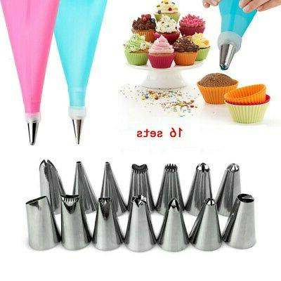 16pcs/Set Cake Decorating Kit Bags Russian Piping Tip Pastry