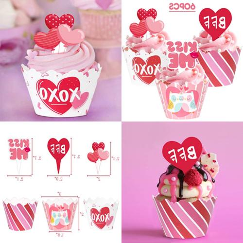 Valentine'S Day Cupcake Toppers Wrappers - Cake Decorations