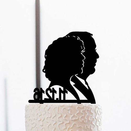 vintage couples silhouette wedding cake