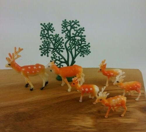 vintage deer plastic miniature figurines cake decorations