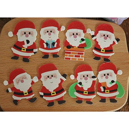 GEORLD 48 Pcs Edible Christmas Paper Cake Decoration