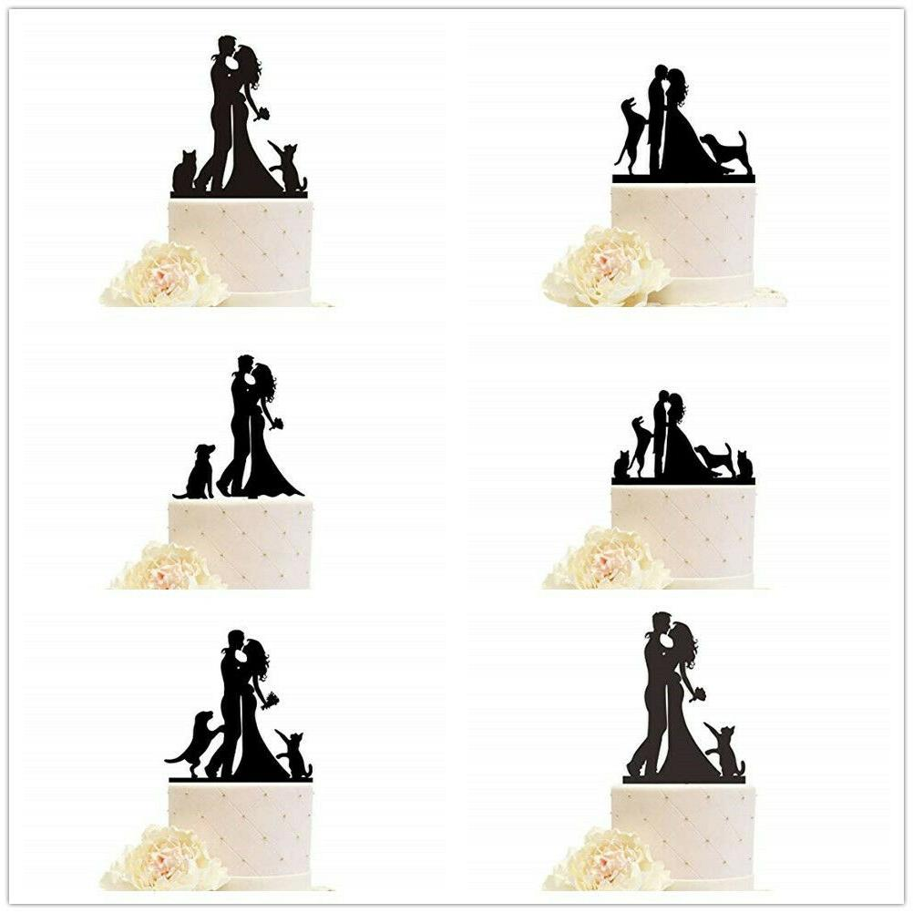 wedding cake topper with dogs cats pets