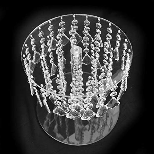 Butterflyevent Crystal Round Bling Chandelier Stand Transparent Cupcake Disaplay Centerpieces Decoration