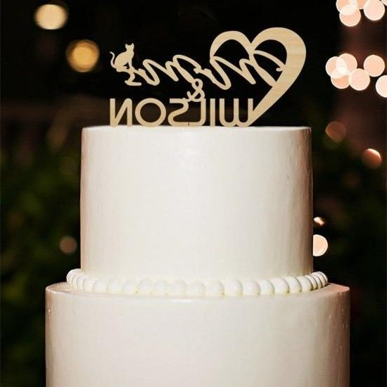 wooden wedding cake topper with cat wedding