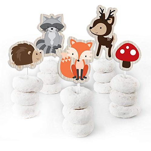 Woodland Creatures Cupcake - Shower or Clear Treat Picks - Set