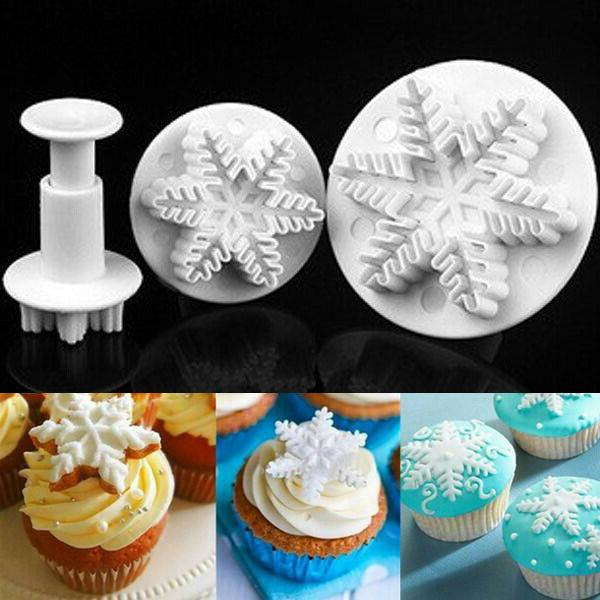 Xmas Fondant Plunger Cookie Mold Flower Decorating Mould