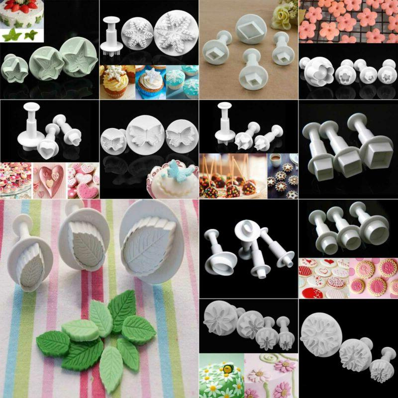 xmas fondant cake cutter plunger cookie mold