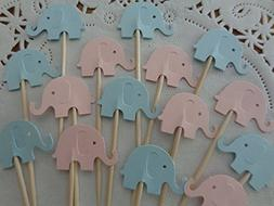 Light Pink and Light Blue Elephant Cupcake Toppers - Food Pi