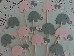 Light Pink and Grey Elephants holding Hearts Cupcake Toppers