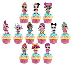 LOL Dolls #2 Edible Wafer Cupcake Cake Toppers Fairy Decorat
