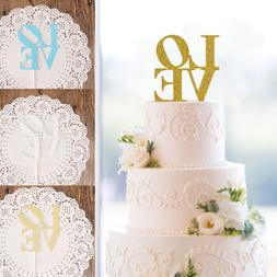 LOVE Cake Topper Sparkle Glitter Gold Wedding Decorating Eng