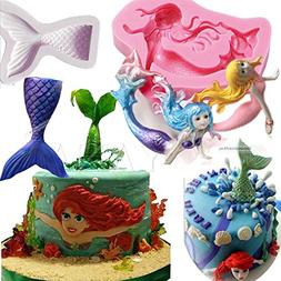 set of 2 sealife ariel Mermaid Tail silicone Molds for Resin