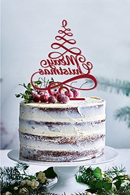 Merry Christmas Cake Topper Selection, Color Shiny Red or M