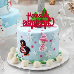 Merry Christmas Letter Cake Topper Acrylic Xmas Party Cake D