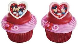 Mickey and Minnie Mouse Valentine Heart Cupcake Rings - 24 p