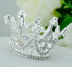 Royal Girl Mini cake Topper Tiara Decoration Silver Rhinesto