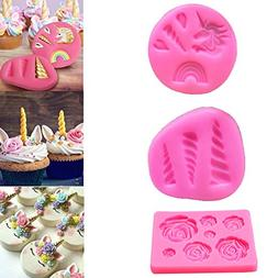 Mini Unicorn Mold Silicone Horn Ears Flowers Toppers for Fon