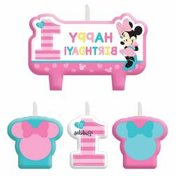 Baby Minnie Mouse 1st Birthday Mini Molded Candles 4ct Party