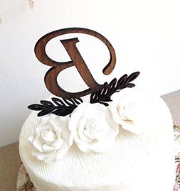 Monogram cake topper, wedding cake topper, rustic cake toppe