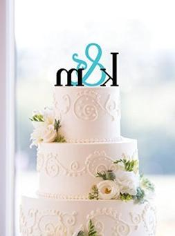 Buythrow Monogram Wedding Cake Topper - Custom Two Initials