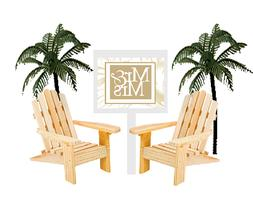 Mr & Mrs Adirondack Unfinished Wood Beach Chair Wedding  Cak