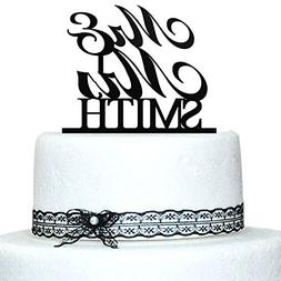 Buythrow Mr and Mrs Cake Topper, Personalized Last Name Wedd
