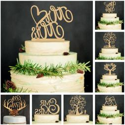 """Mr and Mrs"" Decorations Wedding Supplies Wood Cake Topper B"