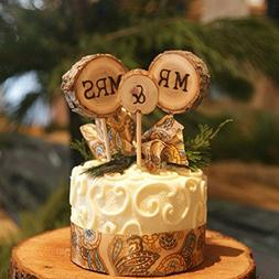 3 Pcs Mr & Mrs Cake Toppers Rustic Wedding Wood Decorations