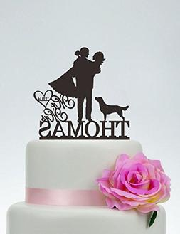 Mr And Mrs Custom Cake Topper With Last Name And Dog Heart F
