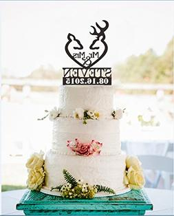 Mr and Mrs Hunter Antler Wedding Cake Toppers Personalized L