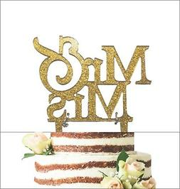 Mr and Mrs Sign, Bride And Groom Cake Topper Gold, Wedding D
