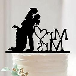 juyue Mr and Mrs Wedding Cake Topper Funny Love Heart Annive