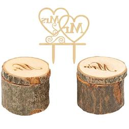 CHUANGLI Mr & Mrs Wedding Ring Box + Cake Toppers Rustic Wed