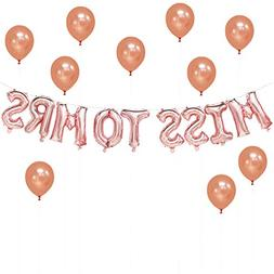 Miss To Mrs Rose Gold Balloons Banner, 16inch | Bridal Showe